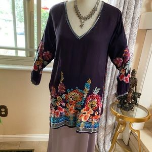 Johnny Was Washed Rayon Tunic w YFB Skirt M